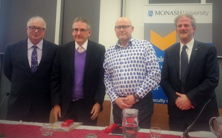 Monash Dean of Law Bryan Horrigan (left) joined panellists (left to right) Federal Court Justice Shane Marshall, King & Wood Mallesons partner John Canning and Monash University Pro Vice-Chancellor David Copolov OAM (Credit: NLL)