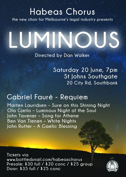 BottledSnail presents Habeas Chorus' inaugural concert 'Luminous'